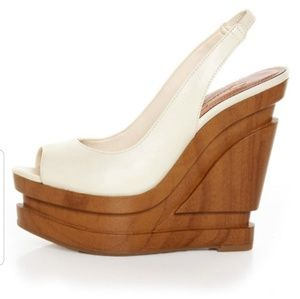 New Jessica Simpson Alexy Ivory Slingback Wedge